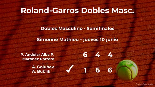Los tenistas Golubev y Bublik ganan en las semifinales de Roland-Garros