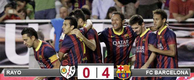 El Barça logró un contundente triunfo en Vallecas con un hat trick de Pedro