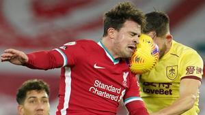 El resumen de la derrota del Liverpool ante el Burnley