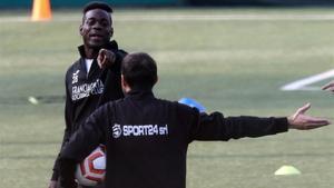 Balotelli, en un entrenamiento con el Sporting Franciacorta