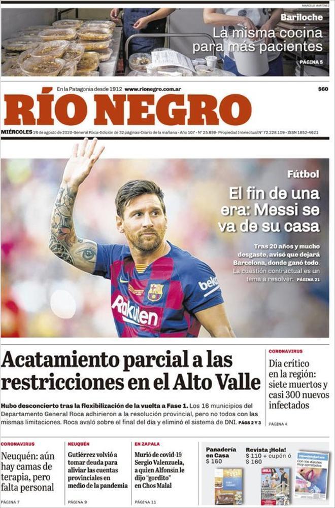La portada del diario Rio Negro del 26 de agosto