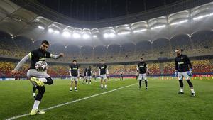 Último entrenamiento del Atlético antes del partido ante el Chelsea