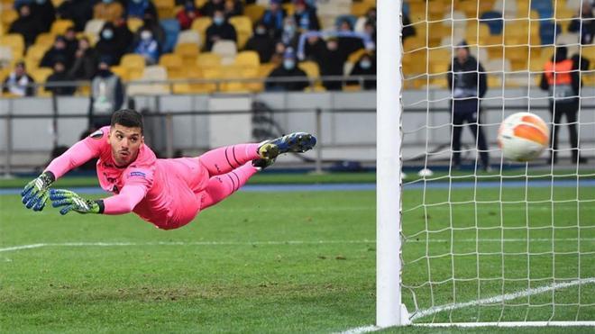 Rulli, durante un partido con el Villarreal esta temporada.