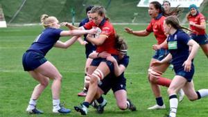La jugadora de la selección española de rugby Anna Puig durante un partido ante Escocia