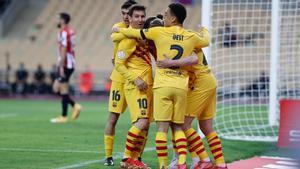 El Barça celebra uno de sus goles en La Cartuja