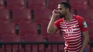 Yangel Herrera festeja un gol con la camiseta del Granada