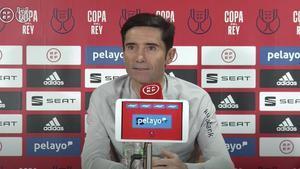 Marcelino, durante la rueda de prensa de hoy