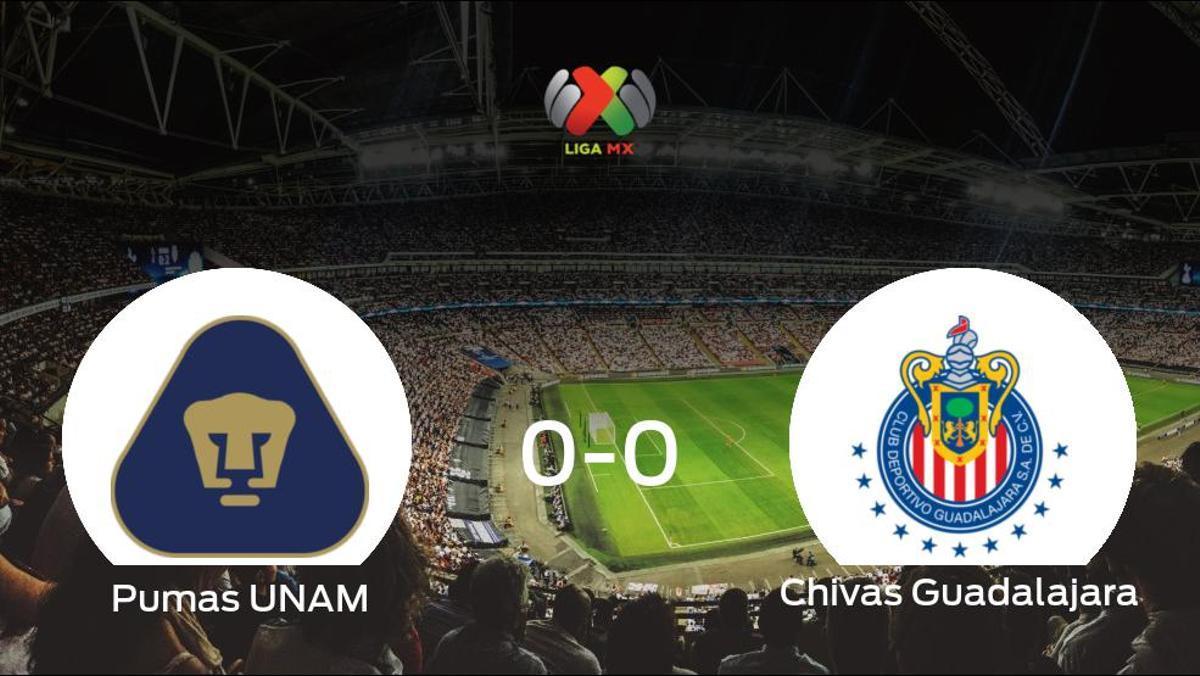 El Pumas UNAM y el Chivas Guadalajara se reparten los puntos en un partido sin goles (0-0)