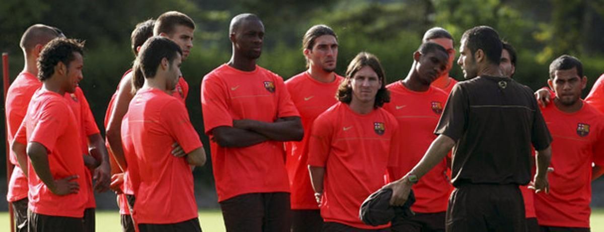 Guardiola y sus jugadores en 2008