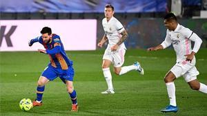 Messi, ante el Real Madrid en Valdebebas