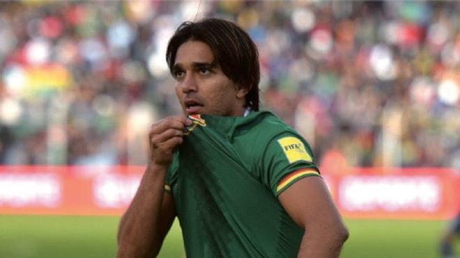 Martins Moreno celebra un gol con Bolivia.