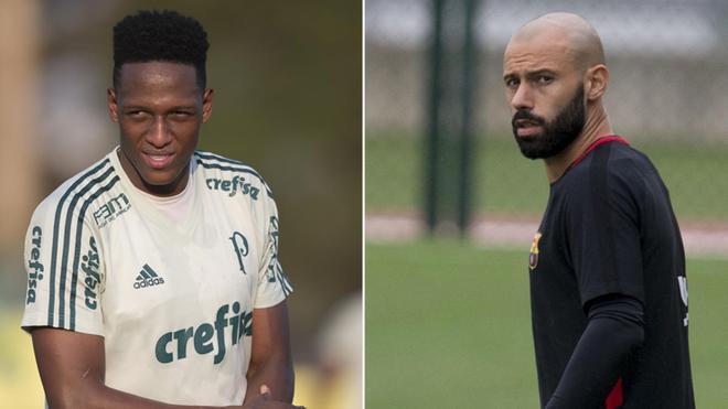 Yerry Mina y Javier Mascherano coincidirán unos días en el Barça