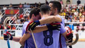 Los jugadores del Barça celebran un gol ante el Noia