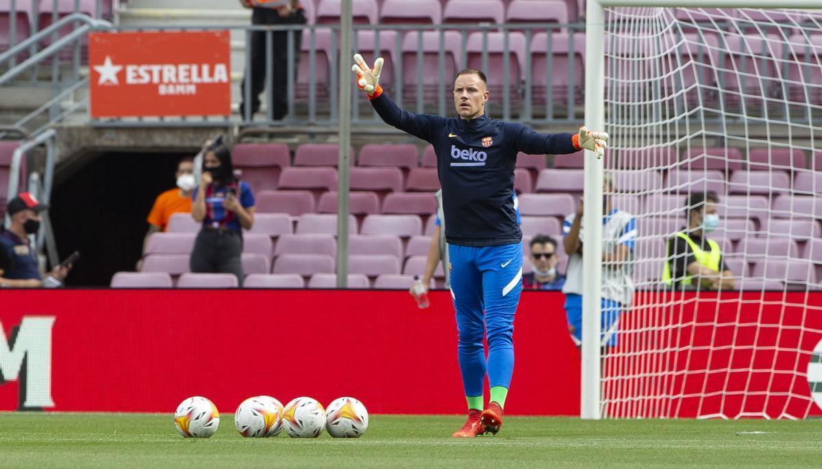 Ter Stegen, en un calentamiento con el FC Barcelona