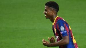 Ansu Fati, autor del segundo gol del FC Barcelona ante el Ferencvaros