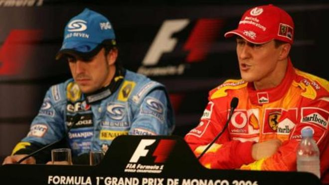 Alonso y Schumacher, en Mónaco 2006