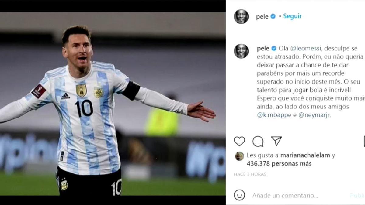 Pelé felicita a Messi