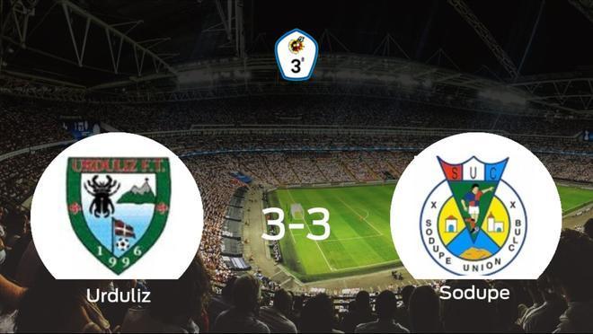 El Urduliz FT y el Sodupe empatan 3-3 y se reparten los puntos
