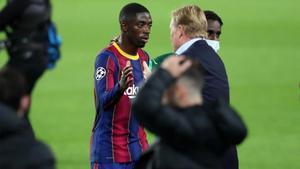 Koeman y Dembélé durante un partido