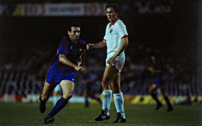 Enrique Castro Quini durante el Barça-Osasuna de la Liga 1983-84