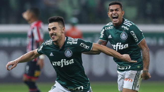 Celebración de uno de los goles del Palmeiras