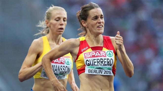 Esther Guerrero corre durante el Europeo de Berlín 2018