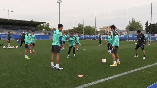 Entrenamiento del Espanyol de cara al partido ante el Málaga