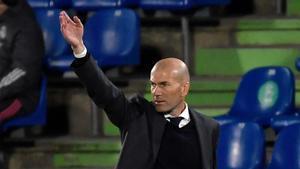 Zidane durante el partido ante el Getafe