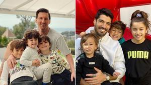 Messi y Luis Suárez, junto a sus hijos