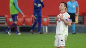 Ivan Rakitic celebra el 2-0 ante el F.C. Barcelona de la temporada pasada