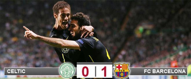 Cesc y Neymar celebran el gol del primero en Celtic Park que supuso el triunfo del Barça en Glasgow