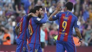 Messi, junto a Neymar y Luis Suárez