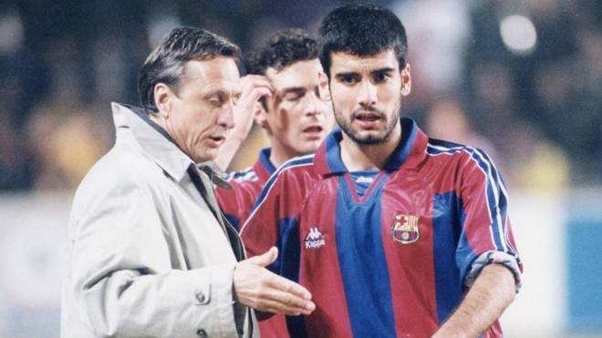 Cruyf y Guardiola, en los tiempos del Dream Team