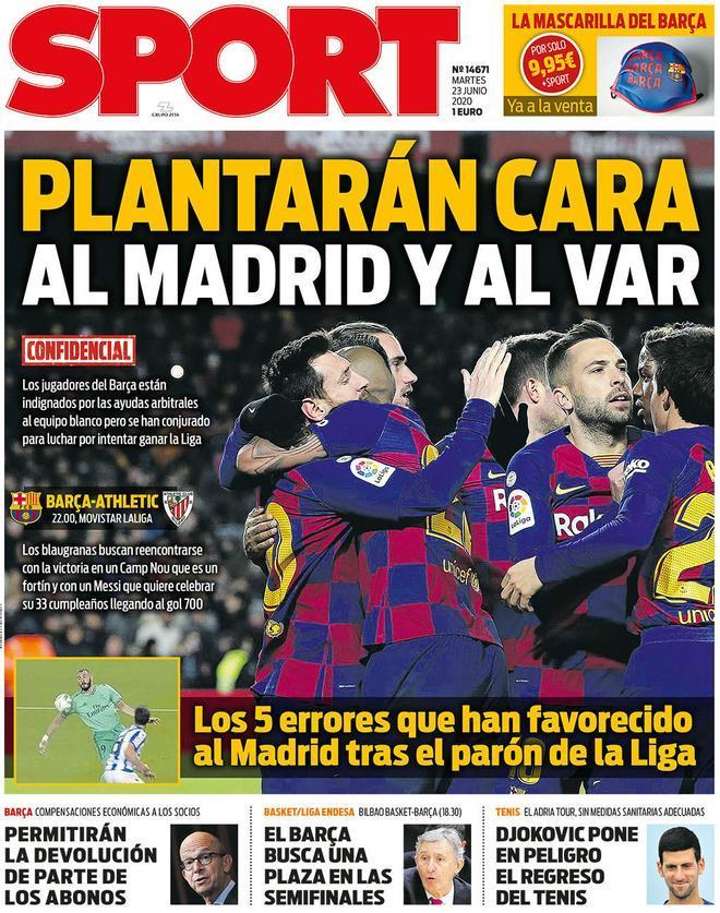 La portada del Sport martes 23 de junio