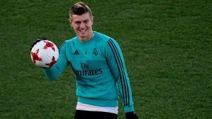 Kroos, en un entrenamiento con el Madrid
