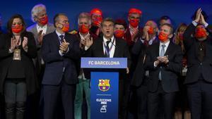 Joan Laporta y su equipo, después de ganar las elecciones