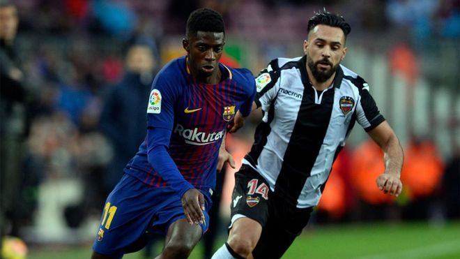 Dembélé ya fue titular ante el Levante en el Camp Nou