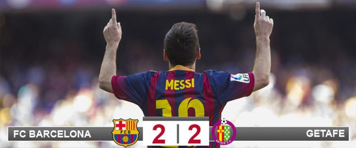 Leo Messi celebra el primero de los goles del Barça frente al Getafe, que esta vez no sirvió para sumar un triunfo