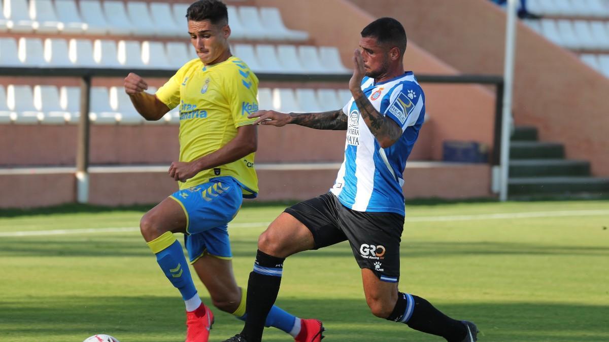 Fran Mérida, durante el amistoso ante la UD Las Palmas