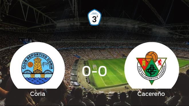 El Coria y el Cacereño se reparten los puntos en un partido sin goles (0-0)
