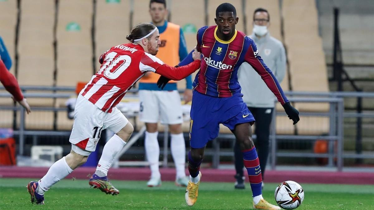 Dembélé y Muniain, en la final de la última Supercopa