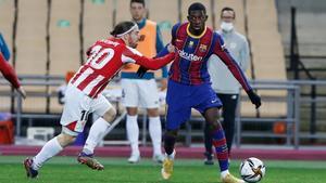 Dembélé y Muniain, en la final de la Supercopa