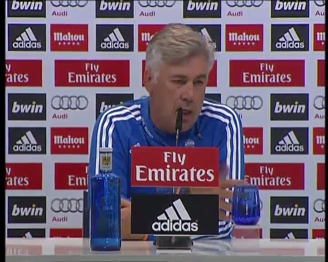 Ancelotti, durante la rueda de prensa.