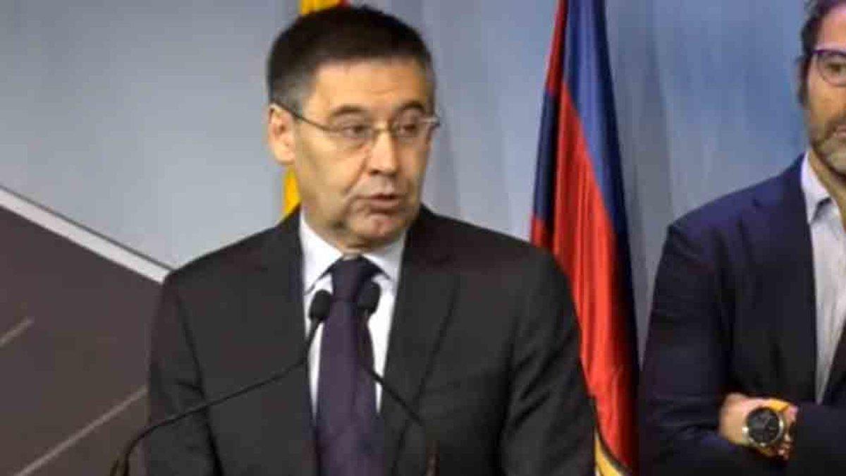 El presidente del Barcelona, Josep María Bartomeu, durante su parlamento