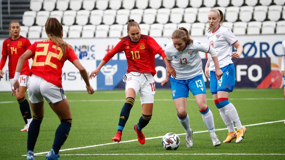 Irene Guerrero, durante el partido ante Islas Feroe