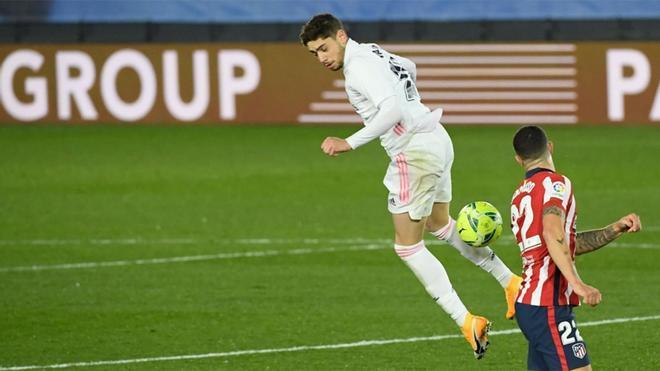 Fede Valverde jugó unos minutos en el derbi