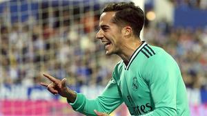 Lucas Vázquez aumentó la ventaja con el segundo gol al Zaragoza
