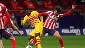 Dembélé sufrió un golpe en el hombro en el partido del Barça ante el Atlético