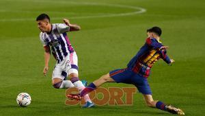 Pedri en el partido de LaLiga entre el FC Barcelona y el Valladolid disputado en el Camp Nou.