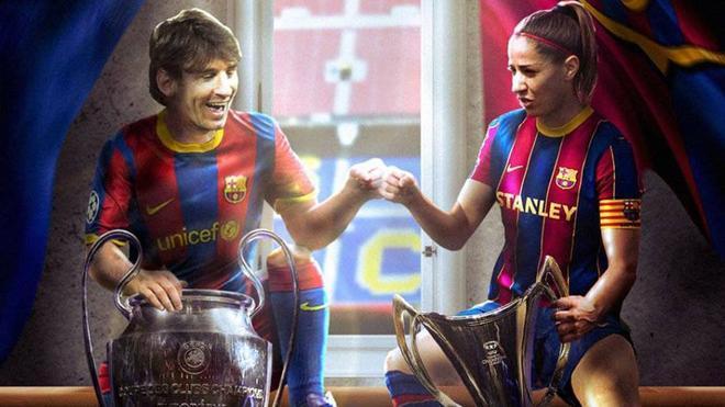 Messi y Vicky Losada junto a la Champions masculina y femenina